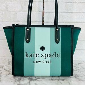 Kate Spade Plaid Green Stripe Ella Tote